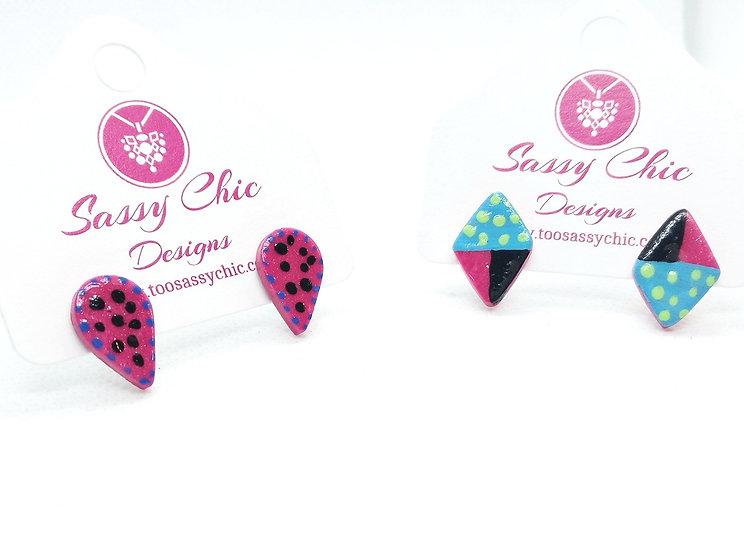 polymer clay fun design earrings