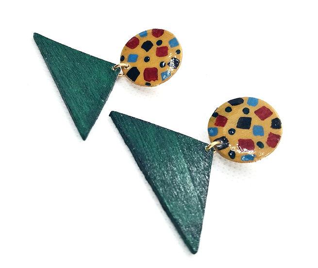 Tribal inspired wooden earrings