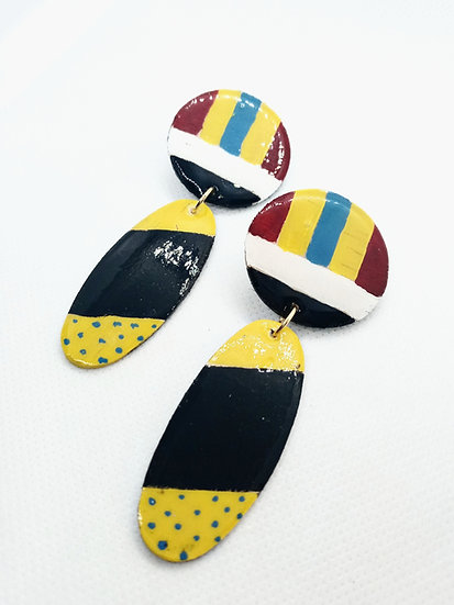 fun print wooden dangle earrings