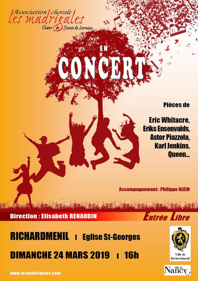 Ne manquez pas notre concert du dimanche 24 mars à Richardménil !
