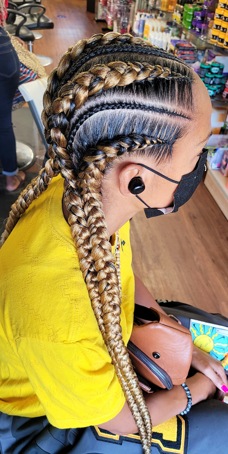 4 Large cornrows with little ones
