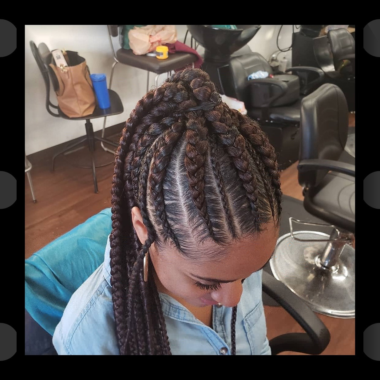 Cornrows into updo with little between 2
