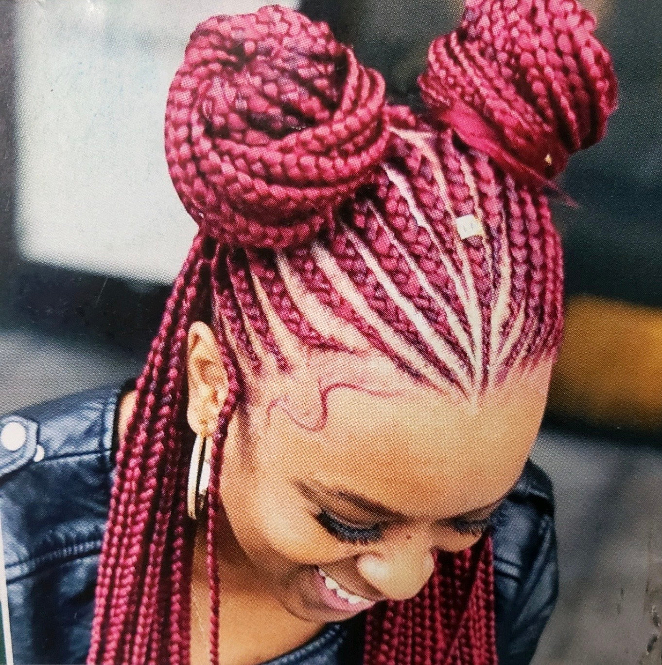 Cornrow updo w/ individuals at the back