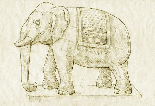 denver zoo elephant statue sketch
