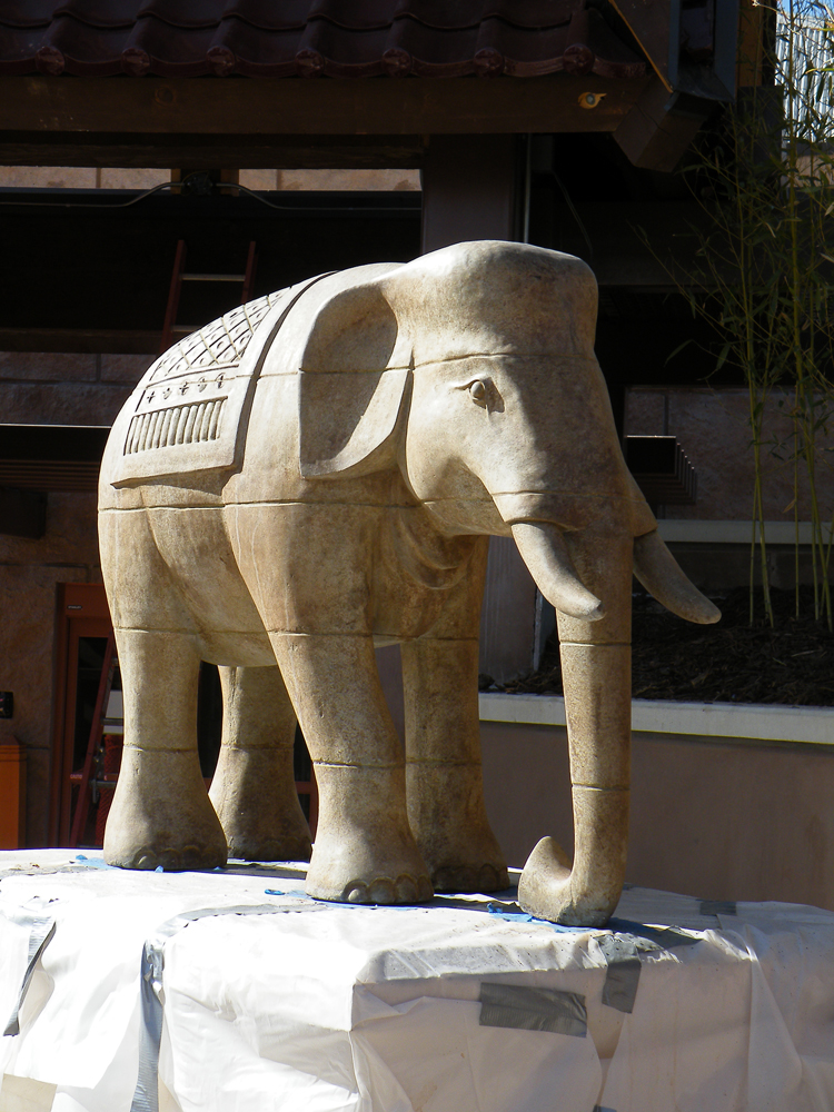 Stylized temple elephant statue