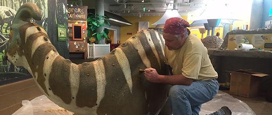 Dennis J Wilson, Paleo-artist, RISD, Denver, Colorado, Parasaurolophus, dinosaur, road-kill, Sculptor