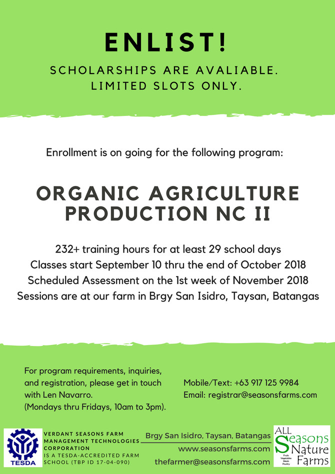 Organic Agriculture Production NC II Classes at All Seasons
