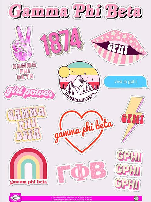 Gamma Phi Beta Girl Power Power Sticker Sheet