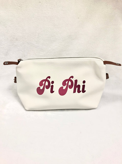 Pi Beta Phi Large Vegan Leather Makeup Bag - White