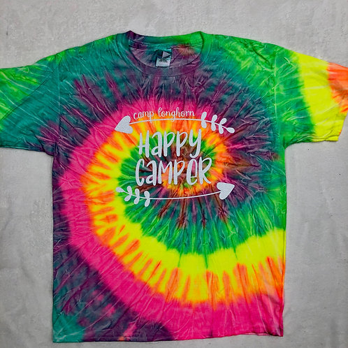 Camp Longhorn Happy Camper Tie Dye Tee