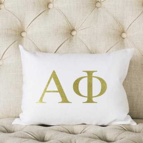Alpha Phi White and Gold Pillow