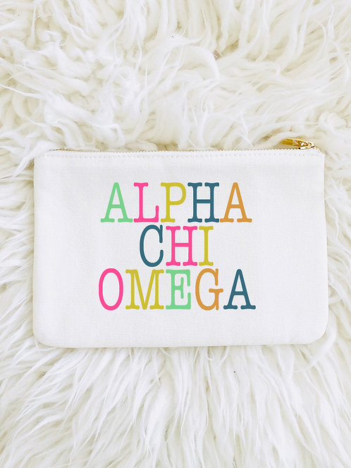 Alpha Chi Omega Color Block Lined Pouch