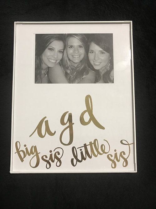 Alpha Gamma Delta Big Sis Little Sis White and Gold Frame