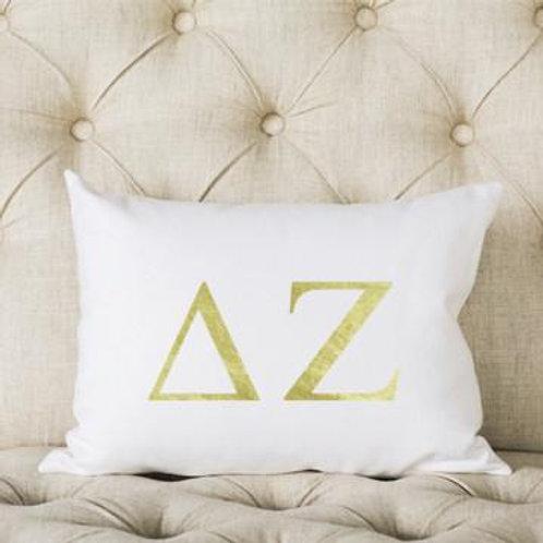Delta Zeta White and Gold Pillow
