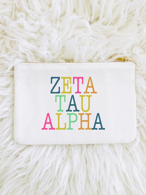 Zeta Tau Alpha Color Block Lined Pouch