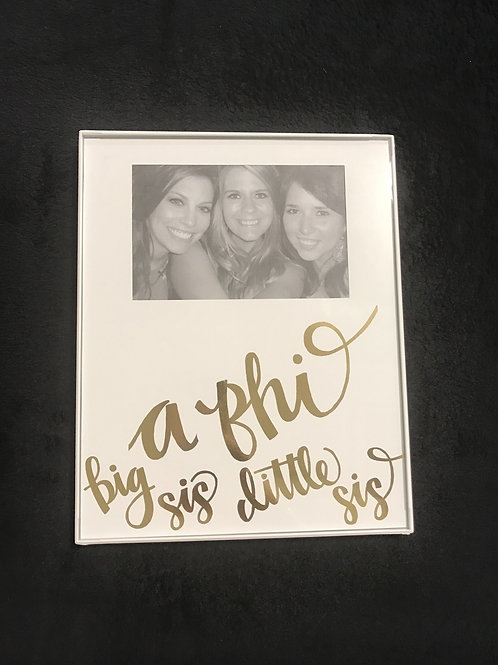 Alpha Phi Big Sis Little Sis White and Gold Frame
