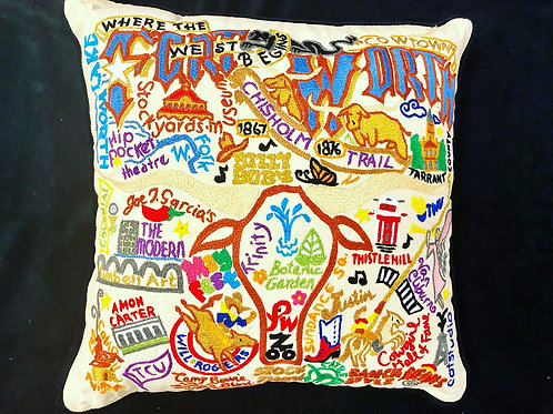 Fort Worth, Texas Embroidered Pillow