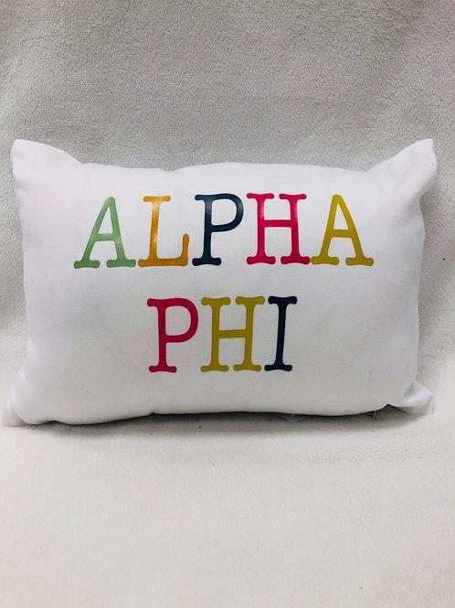 Alpha Phi Color Block Pillow