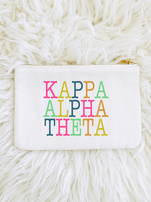 Kappa Alpha Theta Color Block Lined Pouch