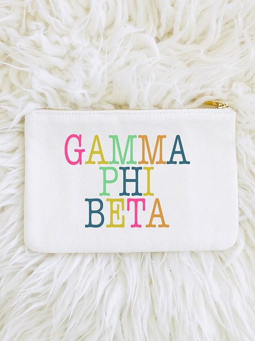 Gamma Phi Beta Color Block Lined Pouch