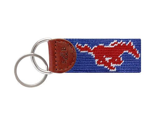 SMU Smathers and Branson Needlepoint Key Fob