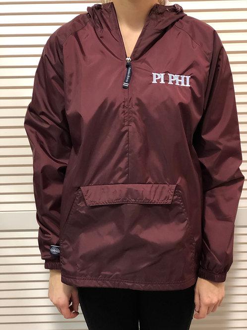 Pi Beta Phi Maroon 1/4 Zip Rain Jacket