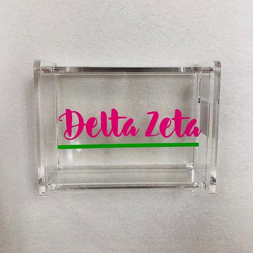 Delta Zeta Script Acrylic Box