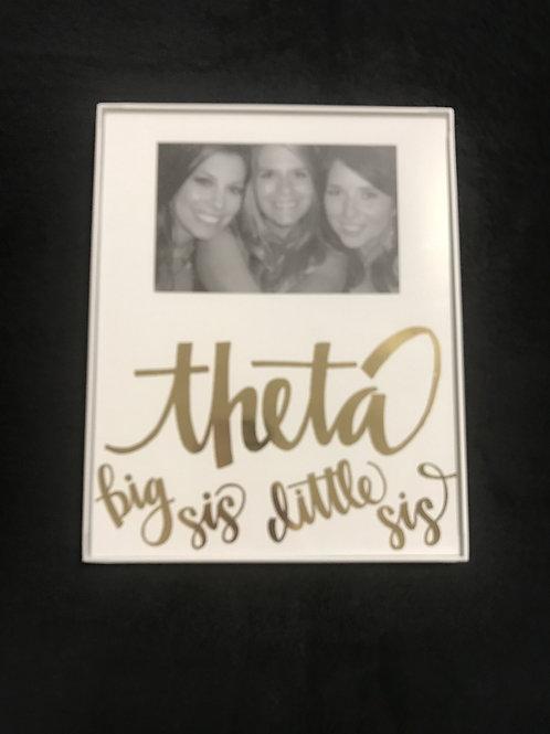 Kappa Alpha Theta Big Sis Little Sis White and Gold Frame