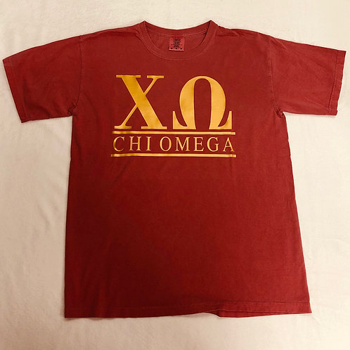 Chi Omega Crimson with Gold Foil Comfort Colors Short Sleeve Tee