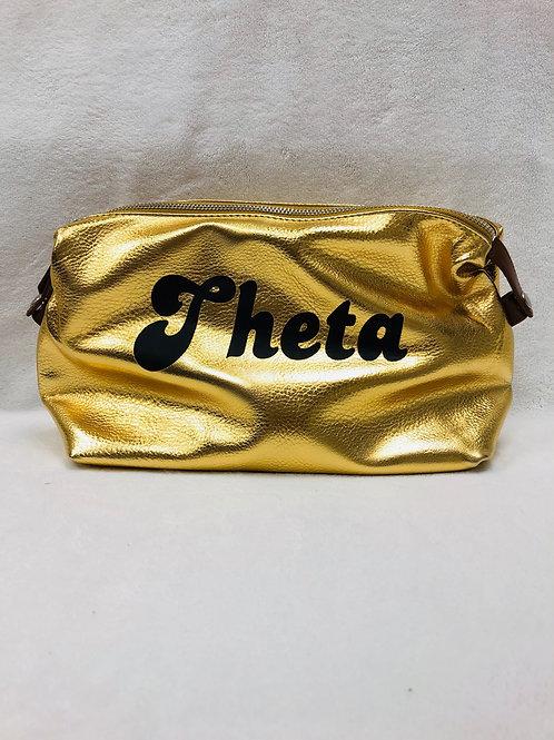 Kappa Alpha Theta Large Vegan Leather Makeup Bag - Gold