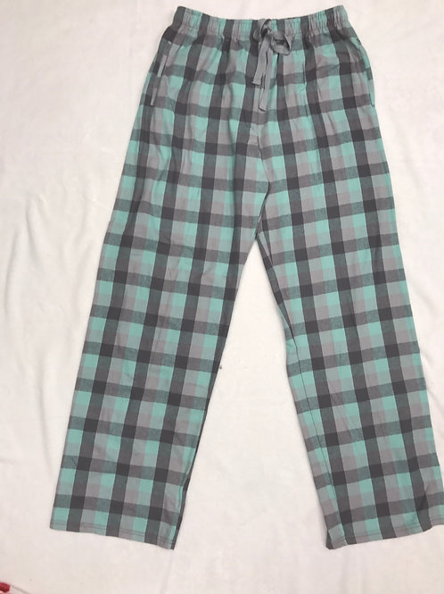 Plain Flannel Pajama Pants - Mint and Grey
