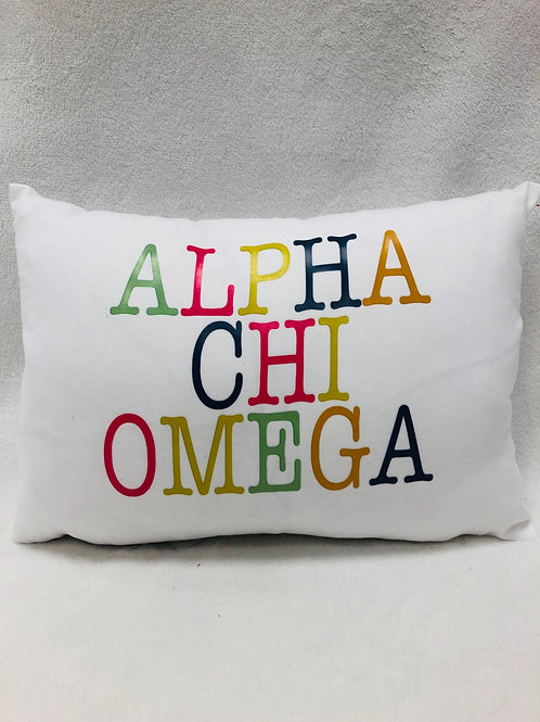 Alpha Chi Omega Color Block Pillow