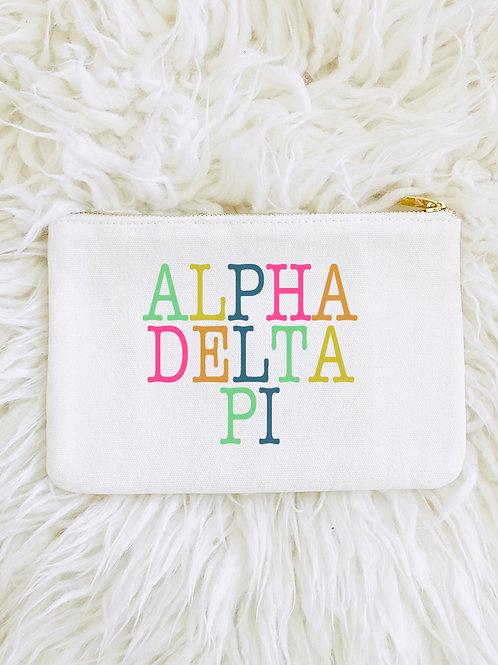 Alpha Delta Pi Color Block Makeup Bags