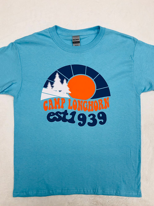 Camp Longhorn Light Blue Retro Tee