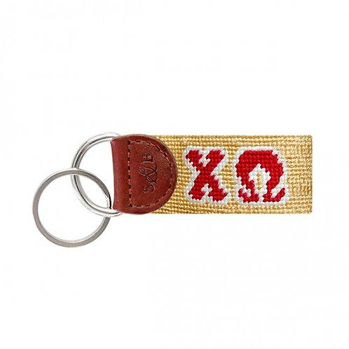 Chi Omega Smathers & Branson Needlepoint Keychain