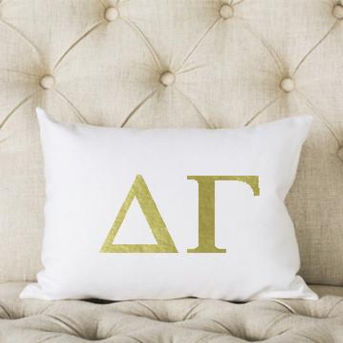 Delta Gamma White and Gold Pillow