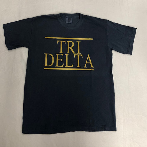 Delta Delta Delta Blue with Gold Foil Comfort Colors Short Sleeve Tee