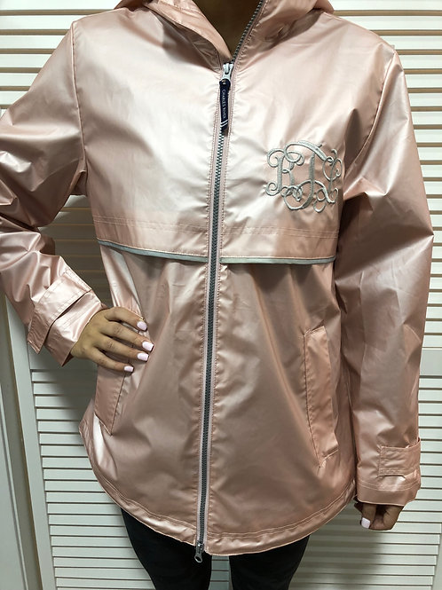 Rose Gold Adult Monogrammed Full Zip Rain Jacket