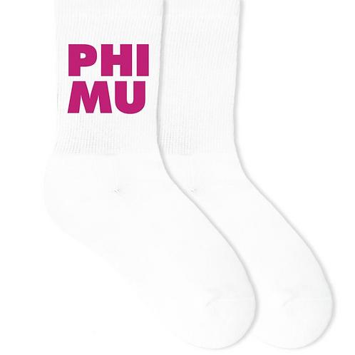 Phi Mu Sorority Crew Socks