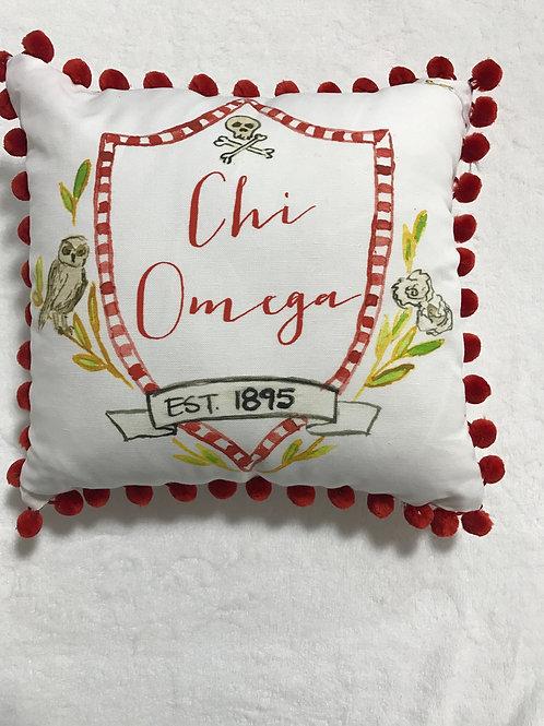 Chi Omega Pom Pom Pillow