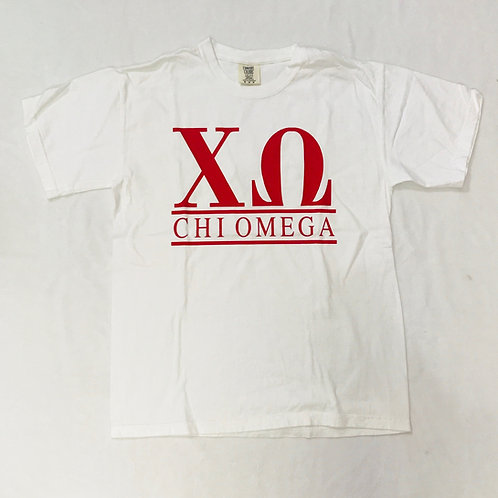 Chi Omega White Comfort Colors Tee