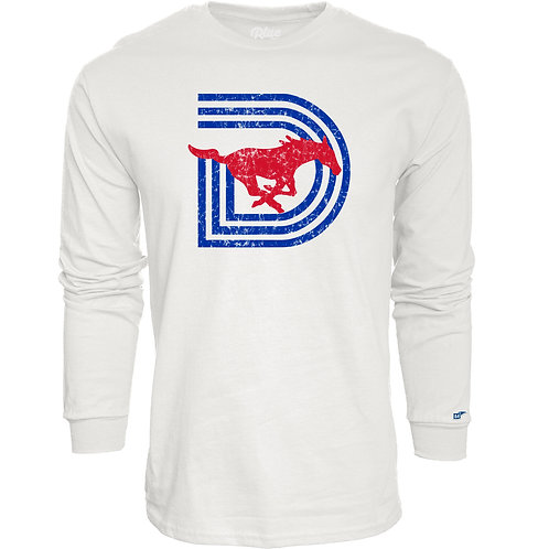 SMU Triple-D Distressed Long Sleeve Tee - White