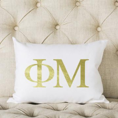 Phi Mu White and Gold Pillow