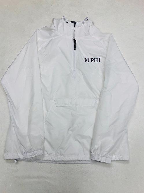Pi Phi White 1/4 Zip Rain Jacket