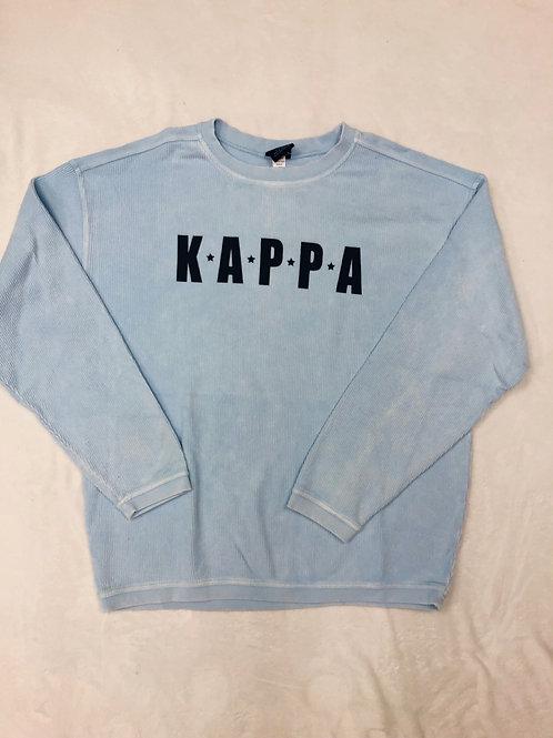 Kappa Kappa Gamma Light Blue Star Design Corded Crew Sweatshirt