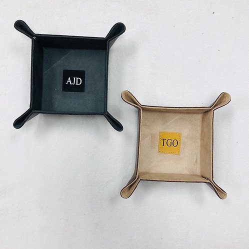 Personalized Leather Snap Trays