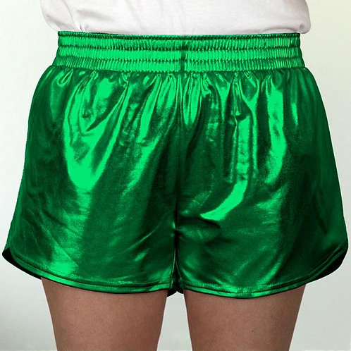 Adult Kelly Green Metallic Summer Shorts