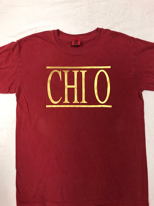Chi Omega Crimson with Gold Comfort Colors Short Sleeve Tee