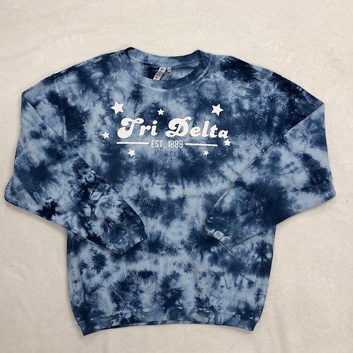 Delta Delta Delta Blue Tie-Dye Corded Crew
