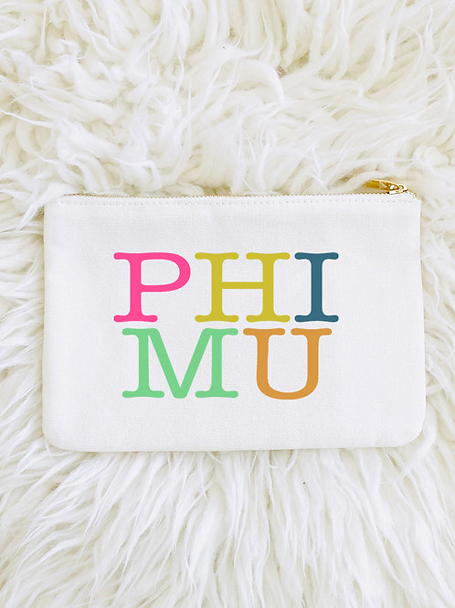 Phi Mu Color Block Makeup Bags
